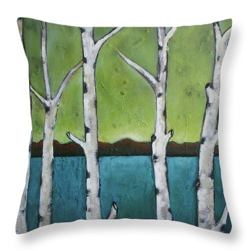 Aspen Throw Pillow featuring the photograph Aspen Trees On The Lake by Vesna Antic