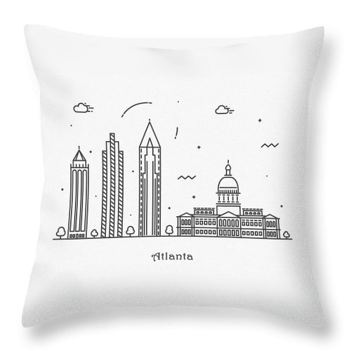 Atlanta Throw Pillow featuring the drawing Astana Cityscape Travel Poster by Inspirowl Design