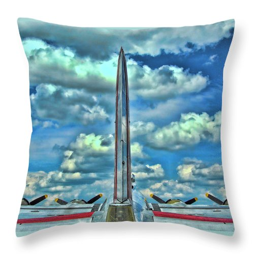 B-17 Bomber Throw Pillow featuring the photograph B-17 Tail Fin by Allen Beatty