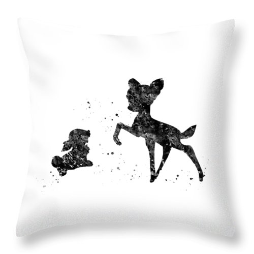 Bambi With Thumper Throw Pillow featuring the digital art Bambi With Thumper by Erzebet S