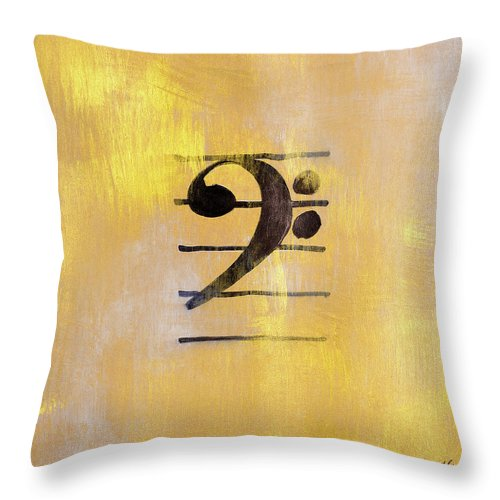 Bass Throw Pillow featuring the painting Bass Clef by Lanie Loreth