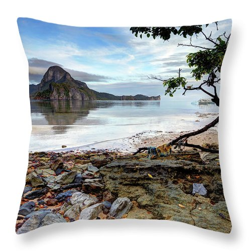 Water's Edge Throw Pillow featuring the photograph Beautiful El Nido Landscape by Vuk8691