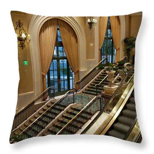 Arch Throw Pillow featuring the photograph Bellagio Interior by Mitch Diamond
