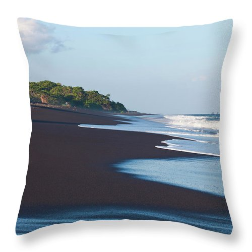 Long Throw Pillow featuring the photograph Black Sand Beach by Davorlovincic