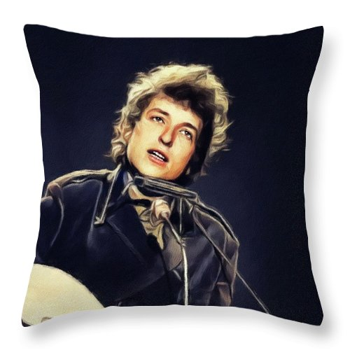 Bob Throw Pillow featuring the painting Bob Dylan, Music Legend by Esoterica Art Agency