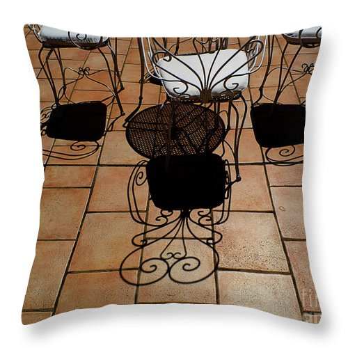 Chairs Throw Pillow featuring the photograph Chairs And Shadows by Mike Nellums