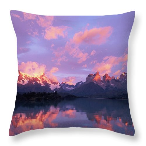 Scenics Throw Pillow featuring the photograph Chile, Patagonia, Torres Del Paine Np by Paul Souders