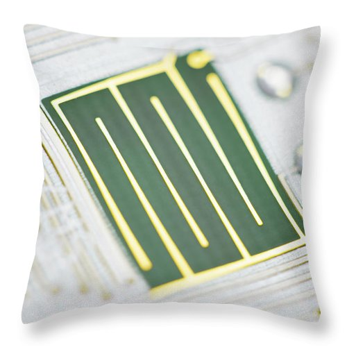 Tin Throw Pillow featuring the photograph Close-up Of A Circuit Board by Nicholas Rigg