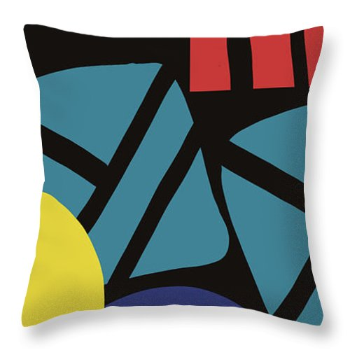 Abstract Throw Pillow featuring the digital art Colorful Bento 3- Art By Linda Woods by Linda Woods
