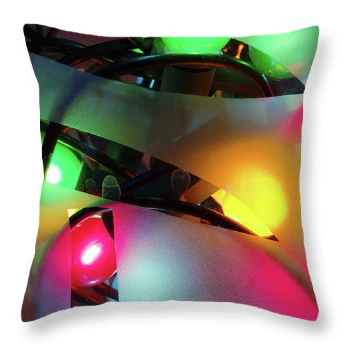 Abstract Throw Pillow featuring the photograph Colorful Fairy Lights by Tom Gowanlock