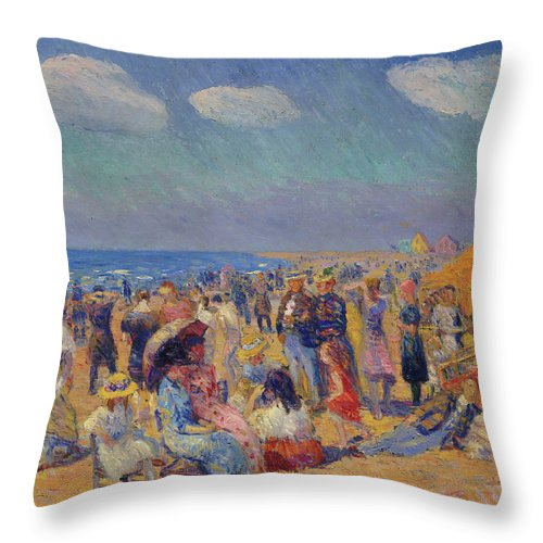 America Throw Pillow featuring the painting Crowd At The Seashore by William Glackens