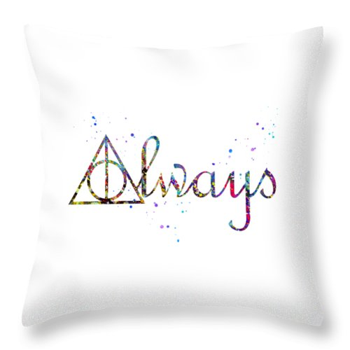 Deathly Hallows Always Throw Pillow featuring the digital art Deathly Hallows Always by Erzebet S