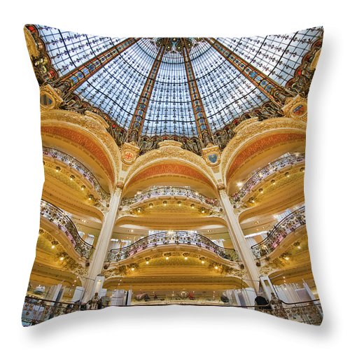 Ile-de-france Throw Pillow featuring the photograph Dome And Balconies Of Galeries by Izzet Keribar