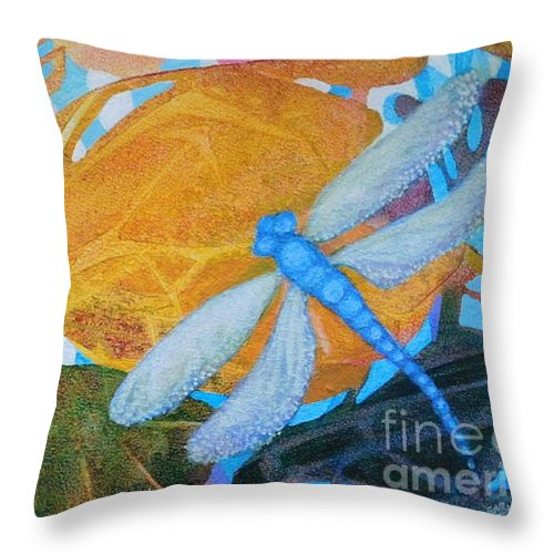 This Bright Colored Painting Of A Dragon Fly In Visiting An Imaginary Tropical Garden Was Done Using Only The Three Primary Colors. It Just Won A Ribbon In The Monthly Pinellas Park Members Show! Throw Pillow featuring the painting Dragon Dance by Joan Clear