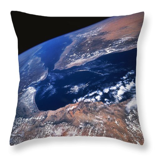 Black Background Throw Pillow featuring the photograph Earth From Space by Stocktrek