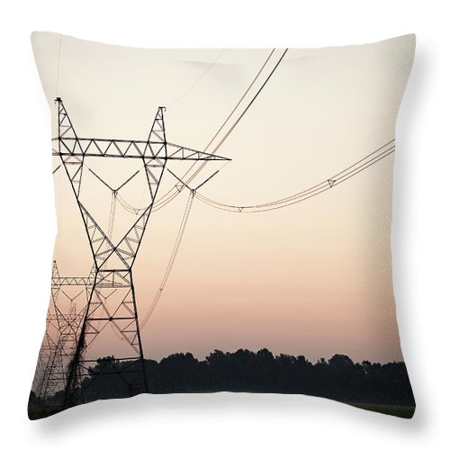 Tranquility Throw Pillow featuring the photograph Electrical Power Lines Against The by Wesley Hitt