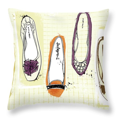 Purple Throw Pillow featuring the digital art Feminine Shoes by Eastnine Inc.