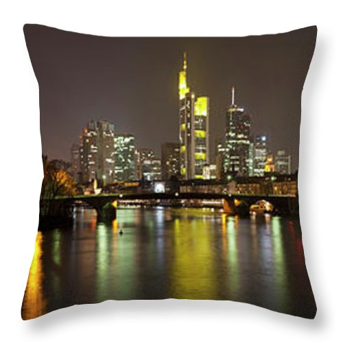 Panoramic Throw Pillow featuring the photograph Germany, Frankfurt, View Of City At by Westend61