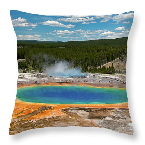 Panoramic Throw Pillow featuring the photograph Grand Prismatic Spring by By Sathish Jothikumar