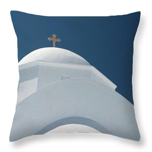 Greek Culture Throw Pillow featuring the photograph Greek Chapel by Deimagine