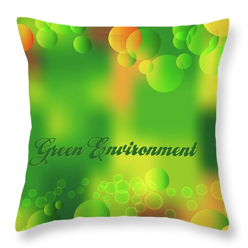 Abstract Throw Pillow featuring the drawing Green Environment by Alain De Maximy