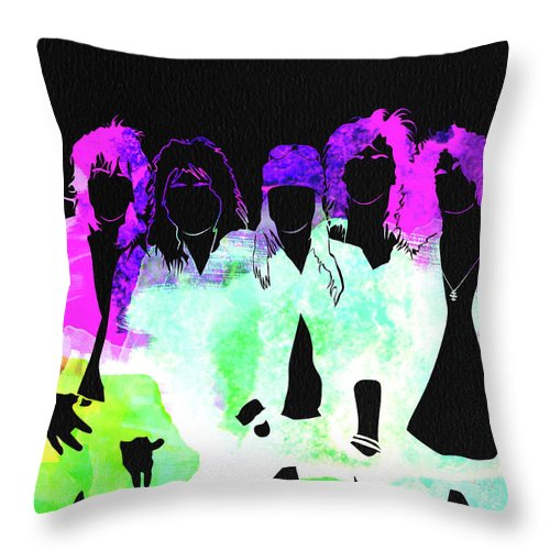 Guns N' Roses Throw Pillow featuring the mixed media Guns N' Roses Watercolor by Naxart Studio