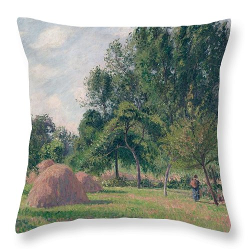 Camille Pissarro Throw Pillow featuring the painting Haystacks, Morning, Eragny, 1899 by Camille Pissarro