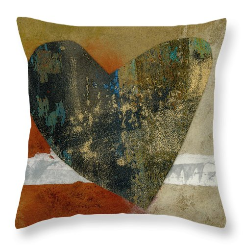Heart Throw Pillow featuring the mixed media Heart Collage 653 by Carol Leigh