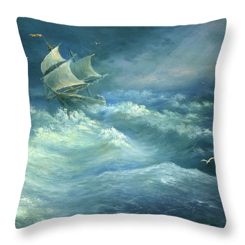 Curve Throw Pillow featuring the digital art Heavy Gale by Pobytov