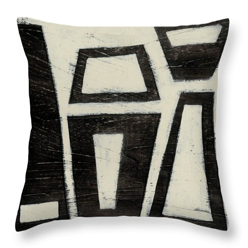 Abstract Throw Pillow featuring the painting Hieroglyph Vii by June Erica Vess