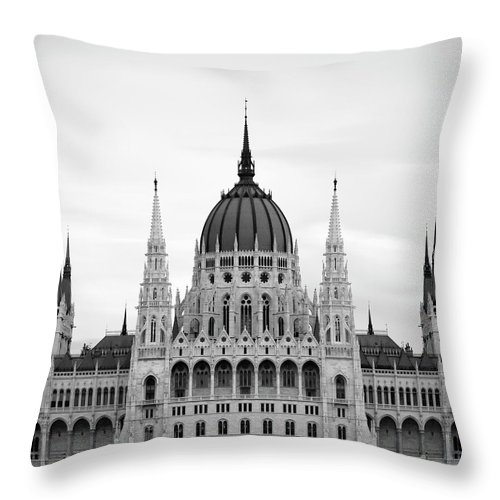 Hungarian Parliament Building Throw Pillow featuring the photograph Hungarian Parliament Building by Alex Holland