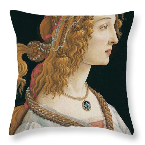 Sandro Botticelli Throw Pillow featuring the painting Portrait Of A Young Woman, Portrait Of Simonetta Vespucci As Nymph by Sandro Botticelli