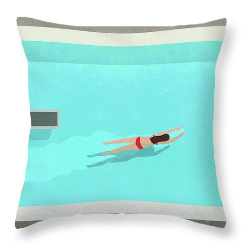 Recreational Pursuit Throw Pillow featuring the digital art Illustration Of Woman Swimming In Pool by Malte Mueller