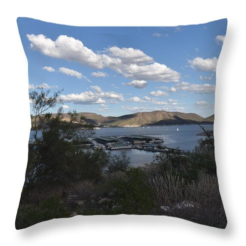 Lake Boat Boating Saguaro Cactus Throw Pillow featuring the photograph Lake Pleasant Az 19 by George Arthur Lareau