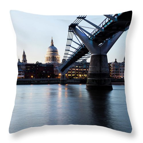 London Millennium Footbridge Throw Pillow featuring the photograph London - St Pauls Cathedral And by Ultraforma