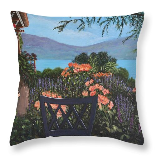 B.c.winery Throw Pillow featuring the painting Lunch At Quails' Gate 1 by Johanna Wray