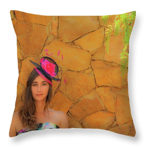 Hat Throw Pillow featuring the photograph Mamin With Hat by Digby Merry
