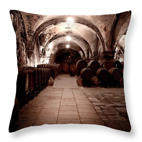Arch Throw Pillow featuring the photograph Medieval Wine Cellar by Ollo