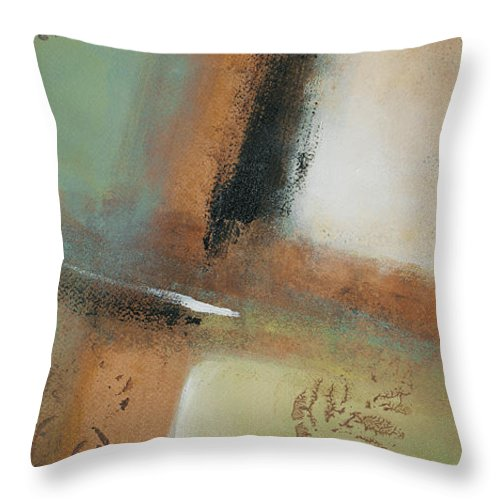 Abstract Throw Pillow featuring the painting Misty Morning I by Lanie Loreth