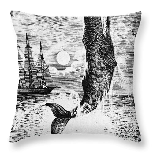 Moby Dick Throw Pillow featuring the drawing Moby Dick by English School