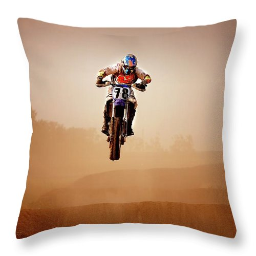 Crash Helmet Throw Pillow featuring the photograph Motocross Rider by Design Pics
