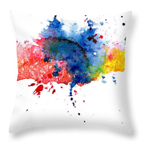Watercolor Painting Throw Pillow featuring the photograph Multicolored Splashes by Alenchi