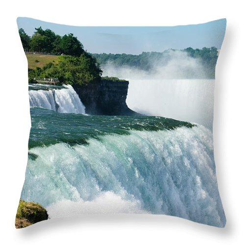 Scenics Throw Pillow featuring the photograph Niagara Falls From The Usa Side by Franckreporter