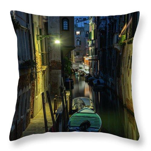Venice Throw Pillow featuring the photograph Night Walk In Venice by Jaroslaw Blaminsky