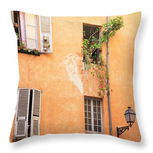 Orange Color Throw Pillow featuring the photograph Old Town Of Nice, French Riviera, France by Aprott