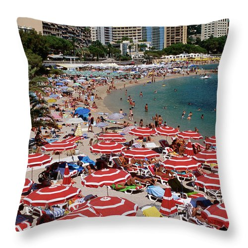 Shadow Throw Pillow featuring the photograph Overhead Of Red Sun Umbrellas At by Dallas Stribley