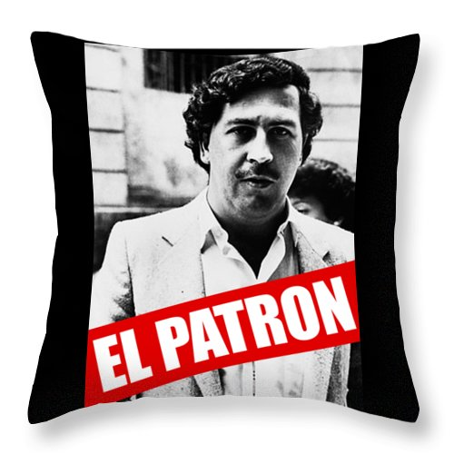 Drugplane Throw Pillow featuring the digital art Pablo Escobar by Mimi Kiki