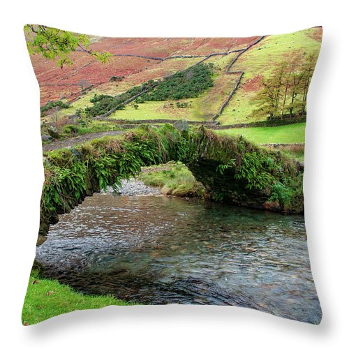 Wasdale Head Throw Pillow featuring the mixed media Packhorse Bridge by Smart Aviation