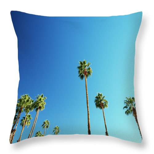 Clear Sky Throw Pillow featuring the photograph Palm Trees Against Blue Sky by Micha Pawlitzki