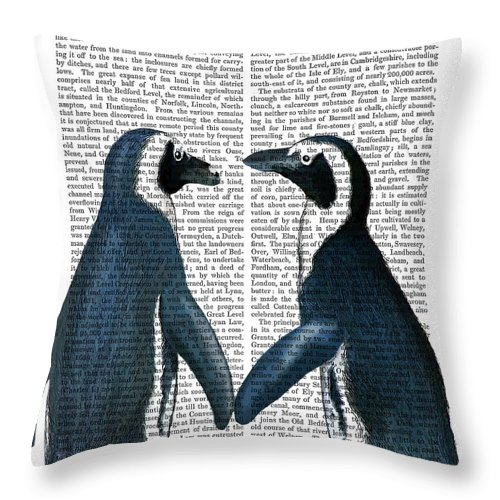 Steampunk Throw Pillow featuring the painting Penguins In Love by Fab Funky